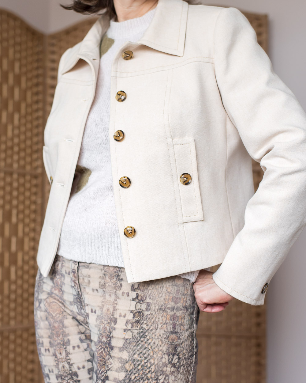 DIY Cream Cropped Jacket